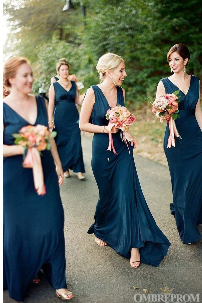Simple V Neck Sleeveless Floor Length Chiffon Bridesmaid Dress B479