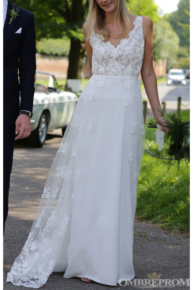 Simple V Neck Sleeveless Floor Length Wedding Dress with Appliques W609