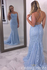 Sky Blue Mermaid Prom Dress Backless Party Dress with Appliques D192