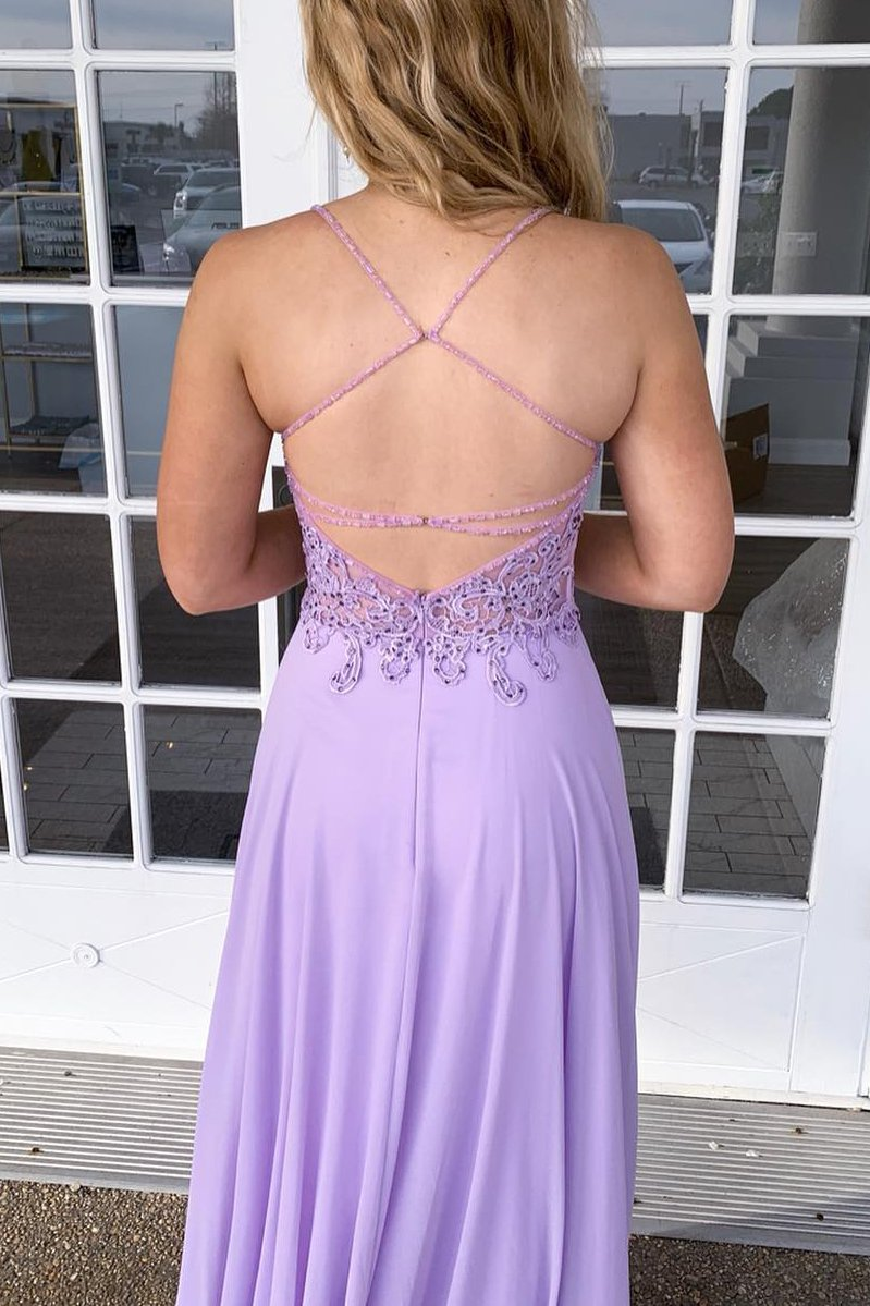 Spaghetti Straps A Line V Neck Backless Prom Dress D366