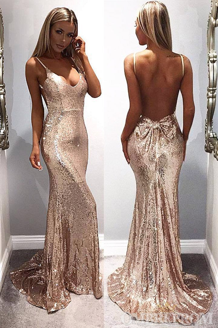 Spaghetti Straps Backless Mermaid Prom Dress with Sequins D302