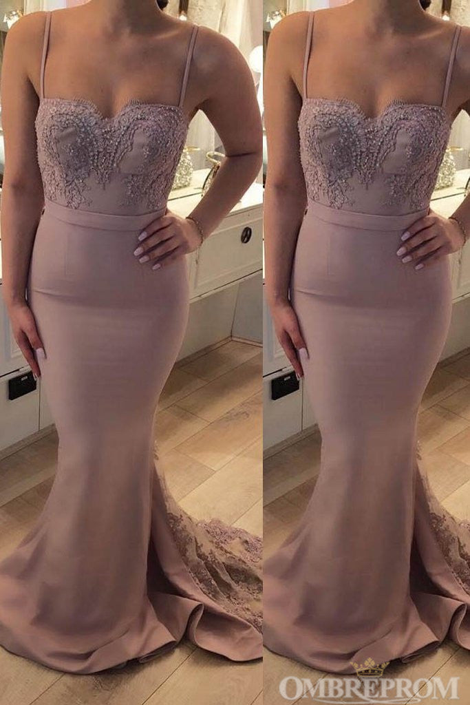 Spaghetti Straps Backlesss Sweetheart Mermaid Bridesmaid Dress B468