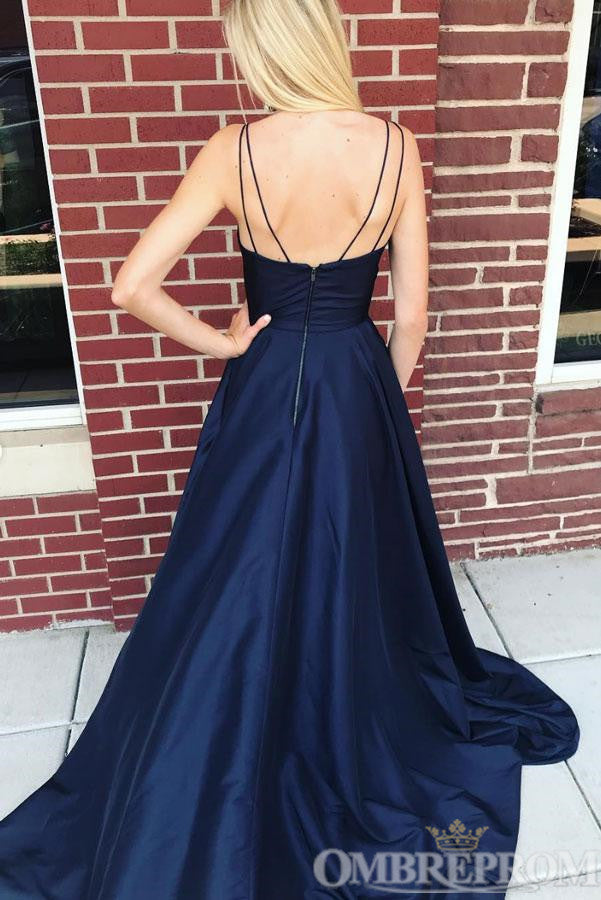 Spaghetti Straps Low Back A Line Prom Dress with Split Side D333