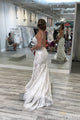 Spaghetti Straps Mermaid V Neck Backless Lace Wedding Dresses W646