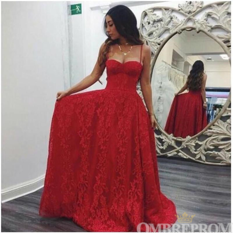 Spaghetti Straps Sweetheart Floor Length Red Lace Prom Dress D67