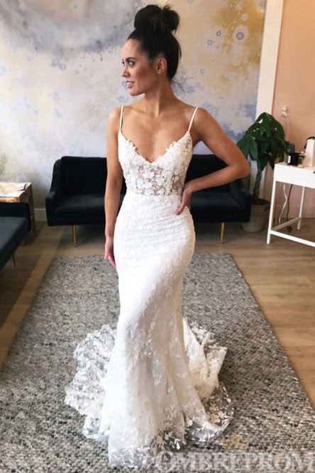 Spaghetti Straps V Neck Mermaid Wedding Dress Lace Bridal Gown W717