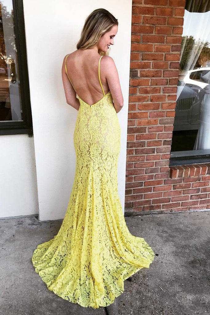 Spaghetti Straps Yellow V Neck Backless Prom Dress with Split Side D204