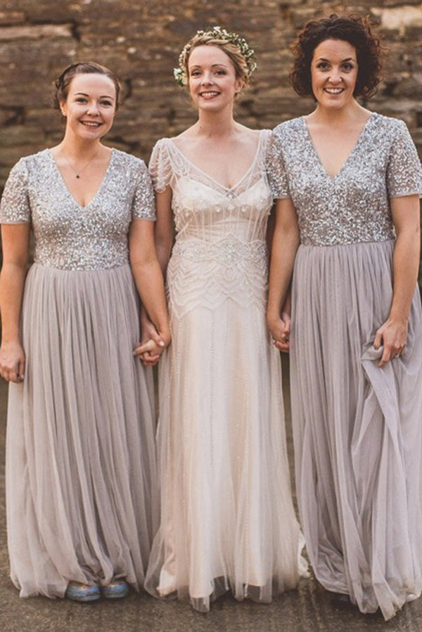 Sparkly Short Sleeves V Neck Long Bridesmaid Dress B514