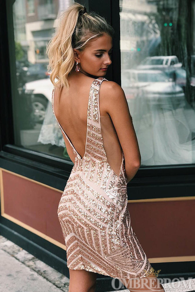 Sparkly V Back Sheath Short Prom Dress with Sequins M647