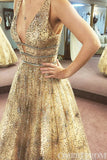 Sparkly V Neck Prom Dress Long A Line Sleeveless Evening Dress with Sequins D45