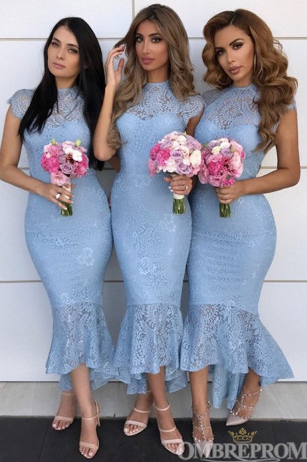 Stunning Blue Cap Sleeves Lace Mermaid Bridesmaid Dress B495
