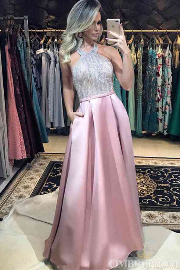 Stunning Halter Backless Pink A Line Floor Length Long Prom Dress D27