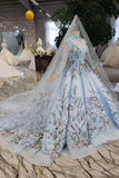 Stunning Long Sleeves Tulle Wedding Dress with Embroidery Bridal Gown W712