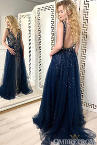 Stunning Navy Blue V Neck Backless Tulle A Line Prom Dress with Beading D134