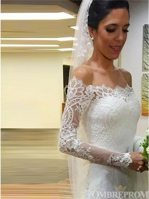 Stunning Off Shoulder Long Sleeves Lace Wedding Dress with Appliques W658