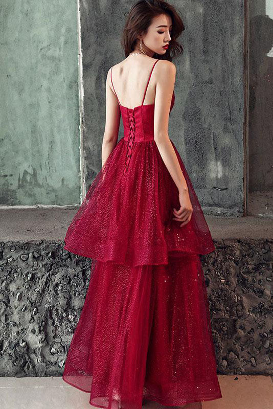 Stunning Red Spaghetti Straps Lace Up Prom Dress D296