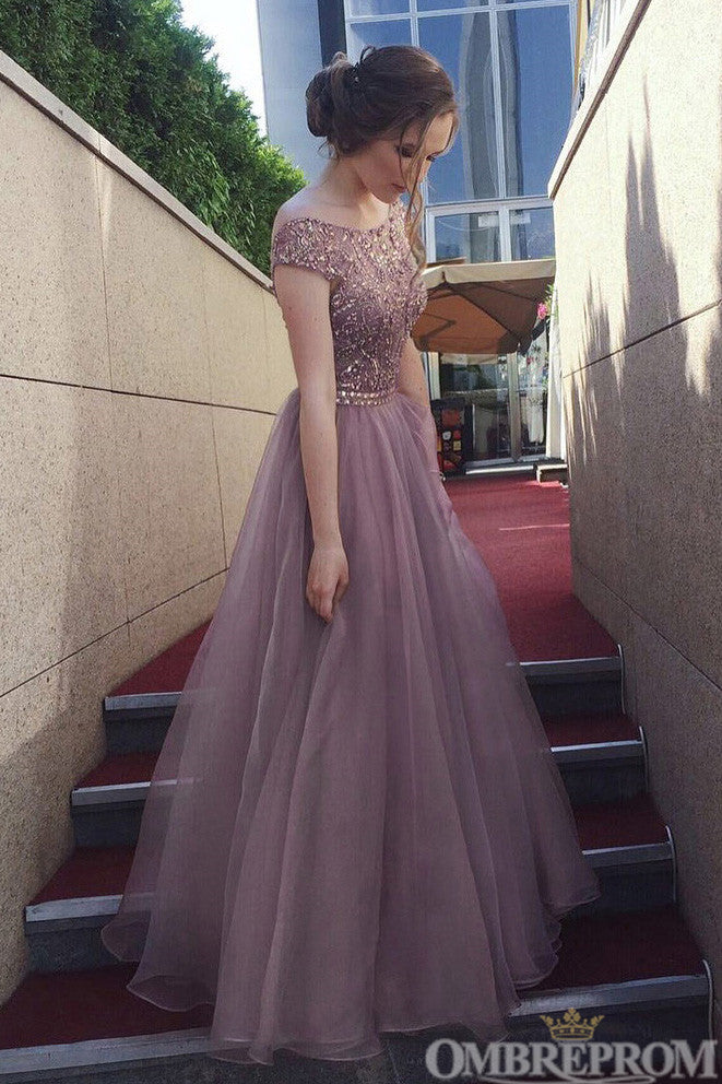 Stunning Round Neck V Back A Line Tulle Prom Dress with Beading D150