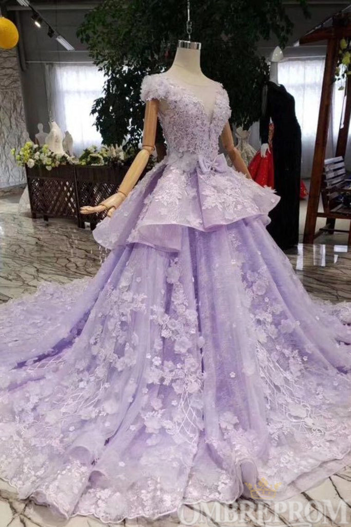 Stunning Short Sleeves Lace Prom Dress Embroidery Long Party Dress D278