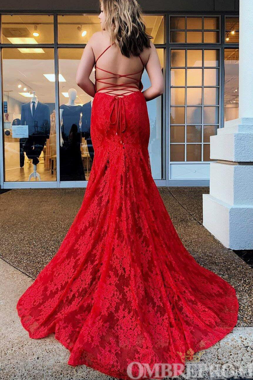Stunning Spaghetti Straps V Neck Backless Lace Long Prom Dress D177