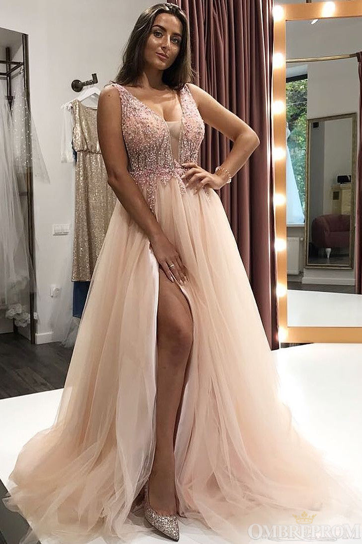 Stunning V Neck Long Tulle Split Side Prom Dresses with Sequins P994