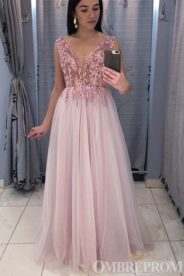 Stunning V Neck Tulle A Line Prom Dress with Sequins D307