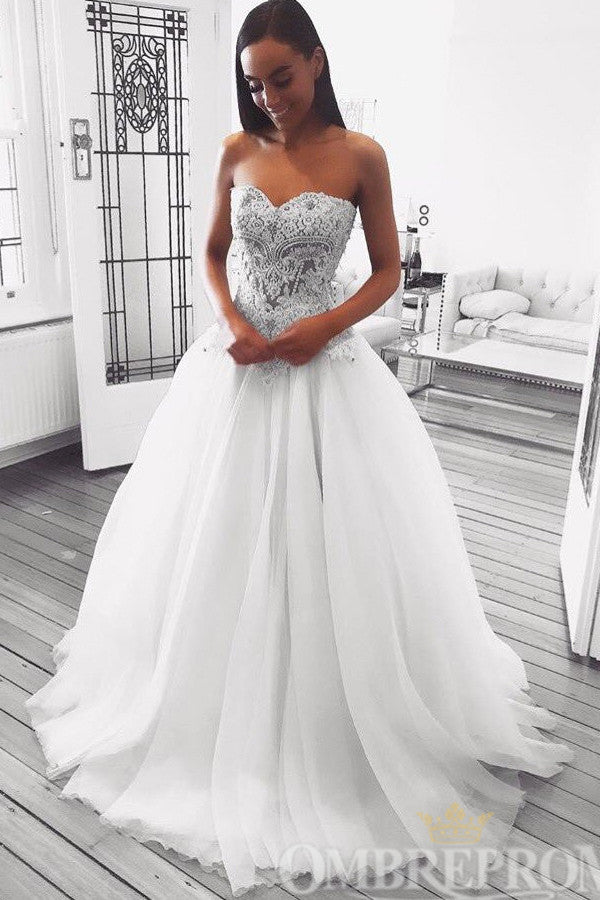 Sweetheart Lace Sleeveless A Line Wedding Dress Ball Gowns W757