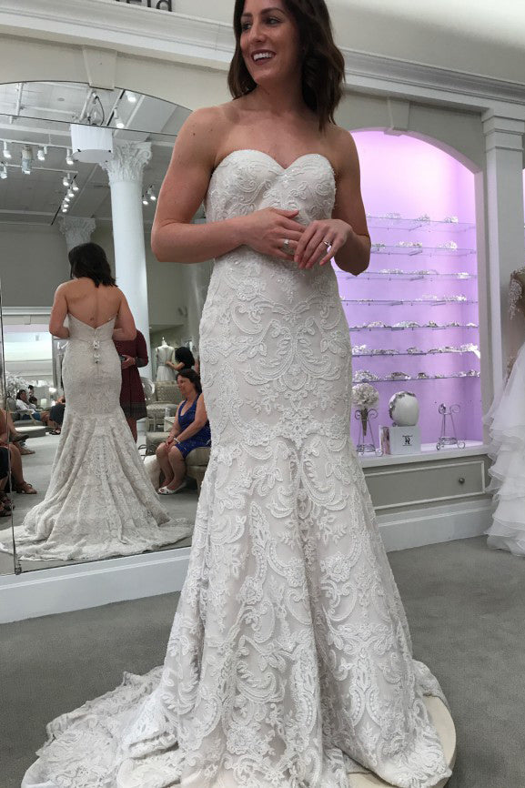 Sweetheart Mermaid Wedding Dress Low Back Bridal Gown with Appliques W680
