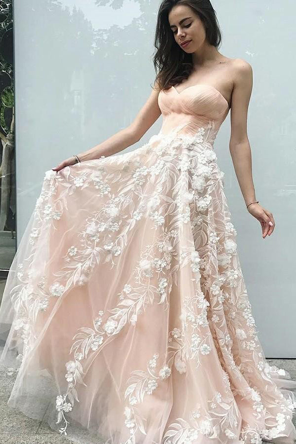 Sweetheart Sleeveless A Line Prom Dress with Appliques D374