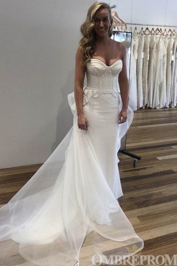 Sweetheart Sleeveless Low Back Lace Mermaid Wedding Dress W669