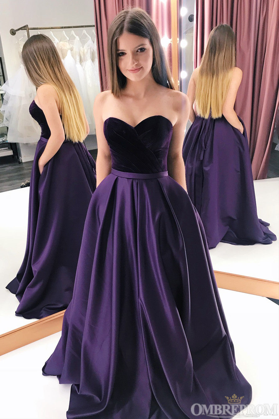 Sweetheart Sleeveless Satin A Line Low Back Long Prom Dresses P993