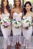 Sweetheart Strapless Lace Appliques Mermaid Bridesmaid Dress B497