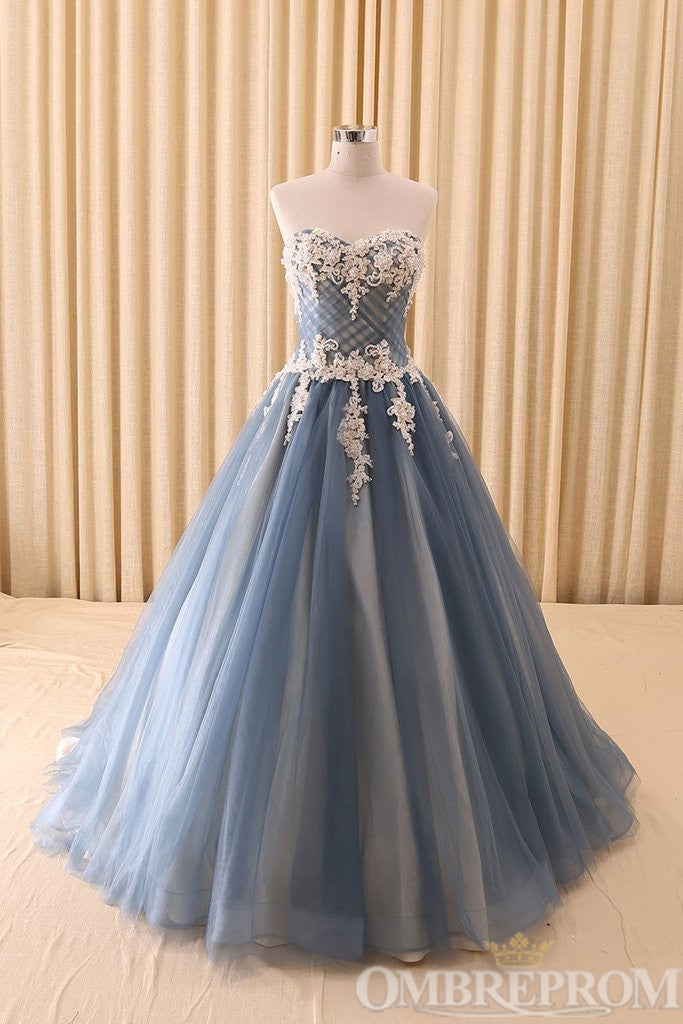 Sweetheart Strapless Lace Prom Dress A Line Party Gown D343