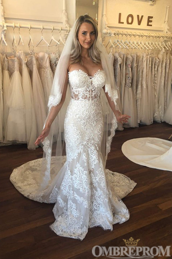 Sweetheart Strapless Lace Wedding Dress Mermaid Bridal Gown W683