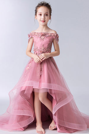 86d7b8c4a1 Gorgeous Off the Shoulder With Lace Appliques Sleeveless High Low Tulle  Flower Girl Dresses F91