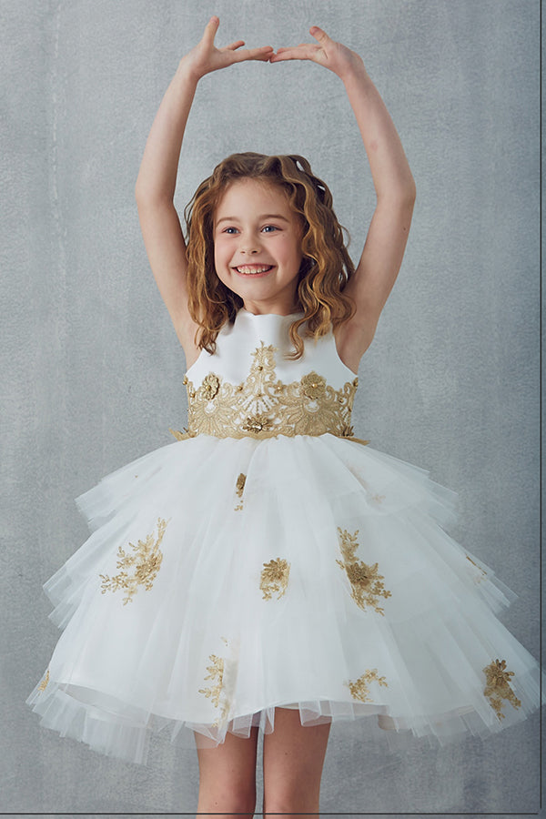 Satin Sleeveless With Beaded Appliques Round Neck Ball Gown Flower Girl Dresses F92