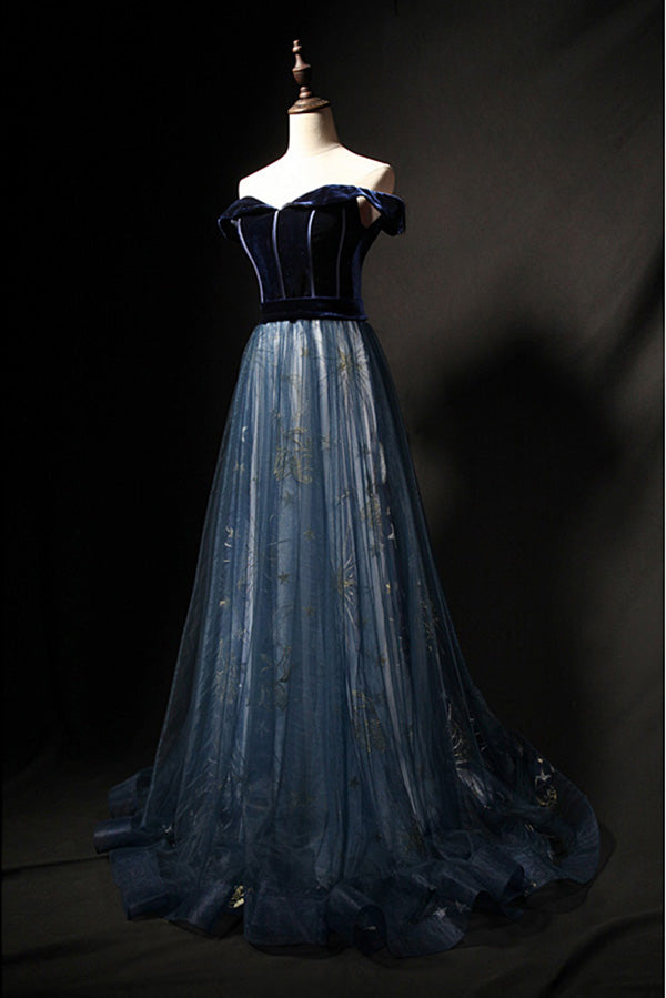Elegant Off the Shoulder Velvet Floor Length Long Evening Dress Prom Dress P798