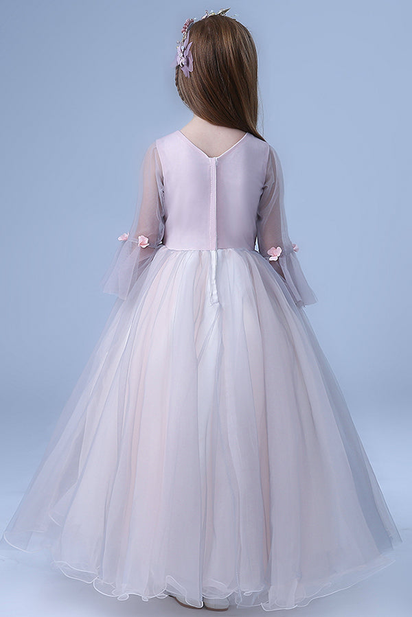 Cute V Neck Long Sleeves Tulle Floor Length A Line With Appliques Flower Girl Dresses F93