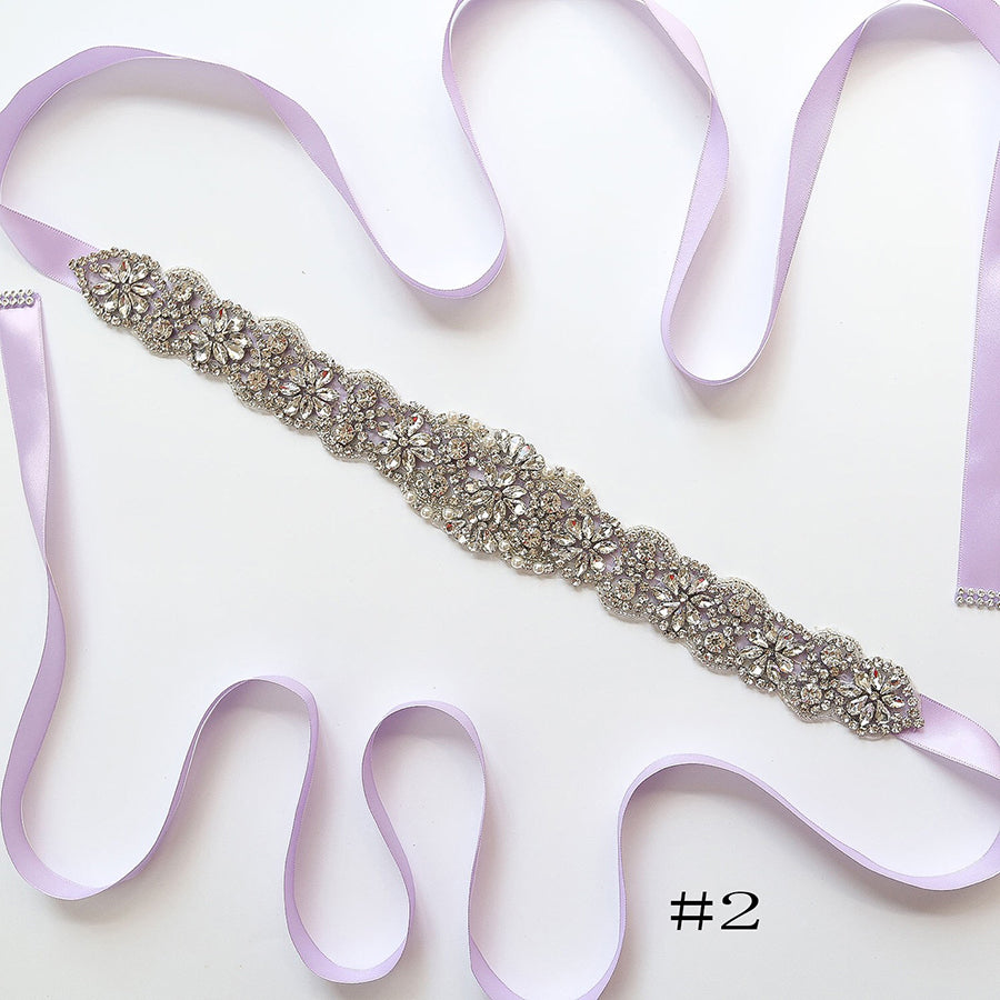 Elegant Long Crystal Sashes with Ribbon A01