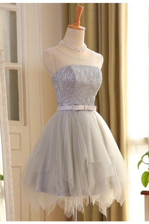 A-line Scoop Short Gray Tulle Sleeveless Prom Dress with Lace OM564 - Ombreprom