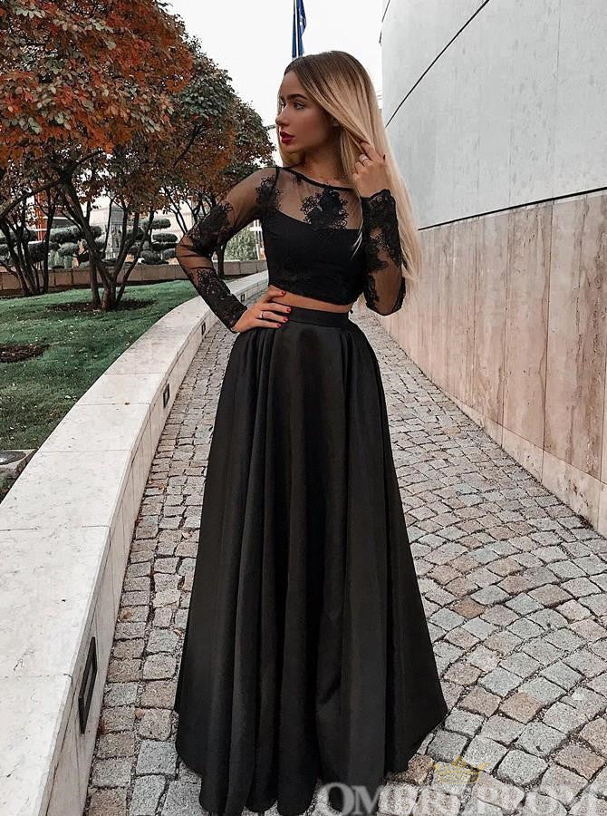 Two Piece Black Prom Dress Long Sleeves A Line Party Dress D113
