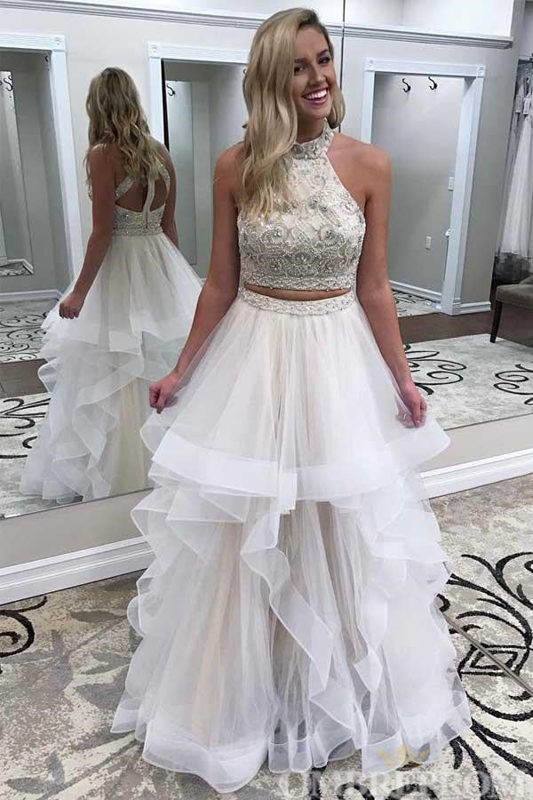 Two Piece Prom Dress Halter A Line Long Party Dress with Ruffles D102