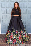 Two Piece Prom Dress Long Sleeves Party Dress with Flower Appliques D126