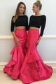 Two Piece Prom Dress Long Sleeves Round Neck Party Gowns D383