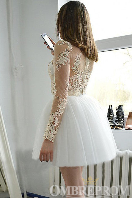 Two Piece Short Prom Dress Long Sleeves Lace Homecoming Dress M678