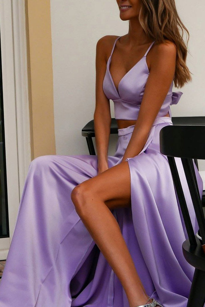 Two Piece Spaghetti Straps V Neck Prom Dress with Bowknot D367