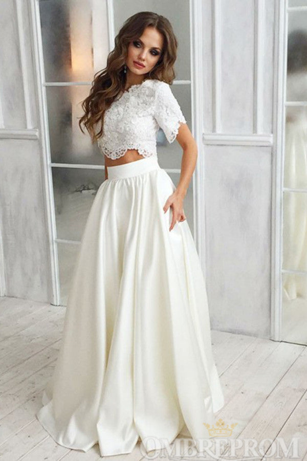 Two Piece Wedding Dress Short Sleeves Bridal Gowns W795