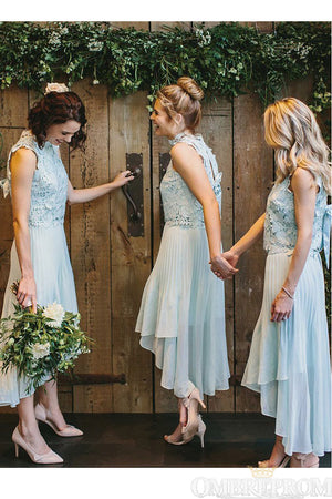 Unique Lace Top Sleeveless High Low Bridesmaid Dress B496