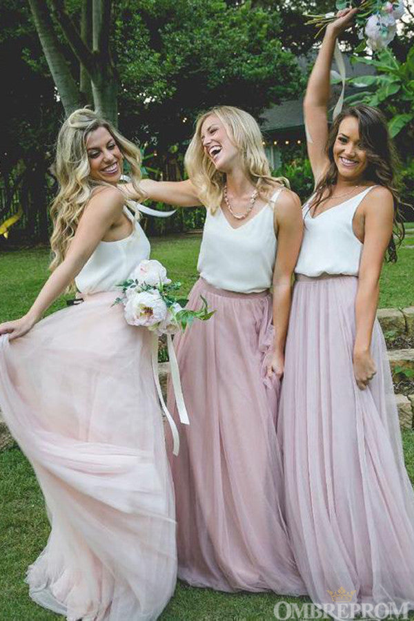 Unique Light Pink V Neck A Line Sleeveless Bridesmaid Dress B482