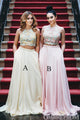 Unique Two Piece Prom Dress Halter Lace Appliques Party Dress D180