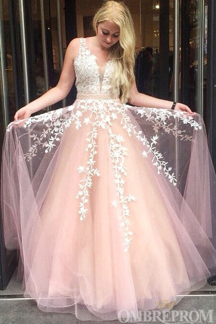 Unique V Back A Line Ball Gown Evening Dress Tulle Long Prom Dress D167